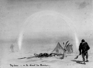 Drawing of a Barrier camp by E. A. Wilson.